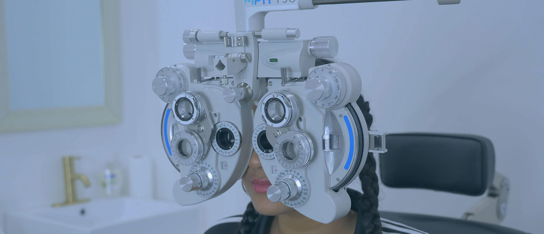image of a woman undergoing an eye exam at our optometry office in vaughan