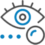 icon of an eye with testing procedure to represent Diabetic eye exams vaughan