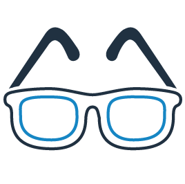 icon of glasses to show that we carry stylish glasses, sunglasses and contact lenses
